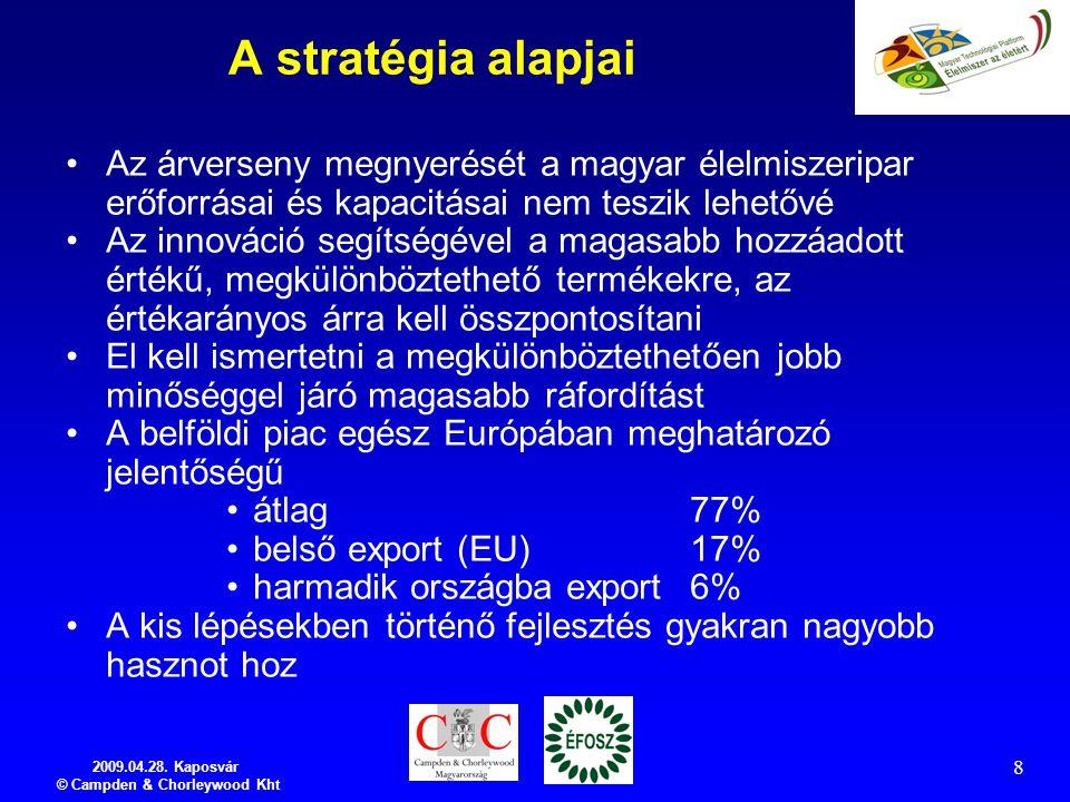 2009.04.28. Kaposvár © Campden & Chorleywood Kht 8 A stratégia alapjai Az árverseny megnyerését a magyar élelmiszeripar erőforrásai és kapacitásai nem