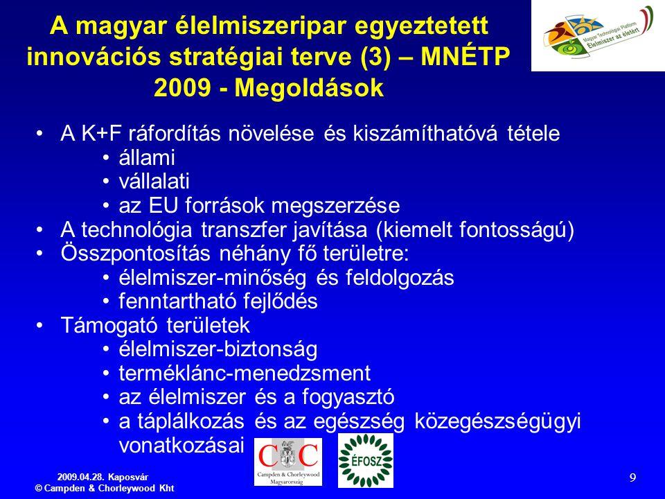 2009.04.28. Kaposvár © Campden & Chorleywood Kht 9 A magyar élelmiszeripar egyeztetett innovációs stratégiai terve (3) – MNÉTP 2009 - Megoldások A K+F