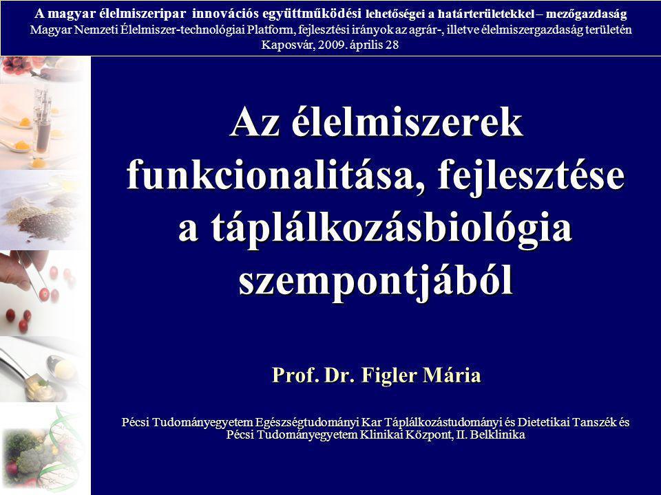 Az élelmiszerek funkcionalitása, fejlesztése a táplálkozásbiológia szempontjából Prof. Dr. Figler Mária Pécsi Tudományegyetem Egészségtudományi Kar Tá