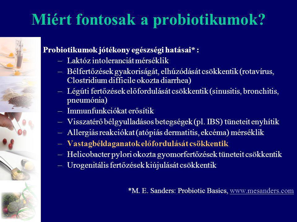 Miért fontosak a probiotikumok? Probiotikumok jótékony egészségi hatásai* : –Laktóz intoleranciát mérséklik –Bélfertőzések gyakoriságát, elhúzódását c