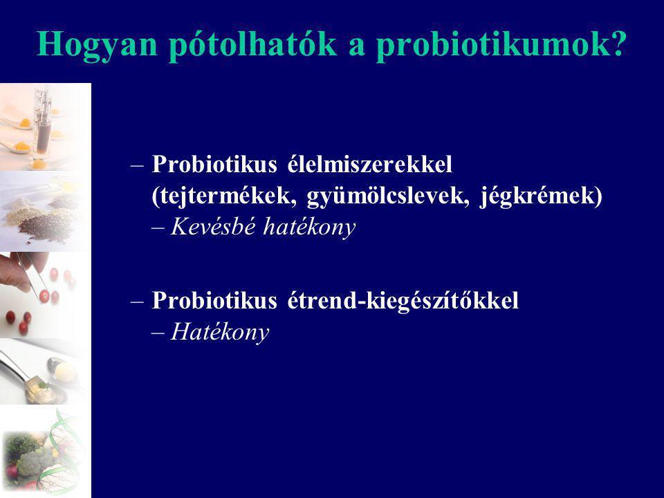 Hogyan pótolhatók a probiotikumok? –Probiotikus élelmiszerekkel (tejtermékek, gyümölcslevek, jégkrémek) – Kevésbé hatékony –Probiotikus étrend-kiegész