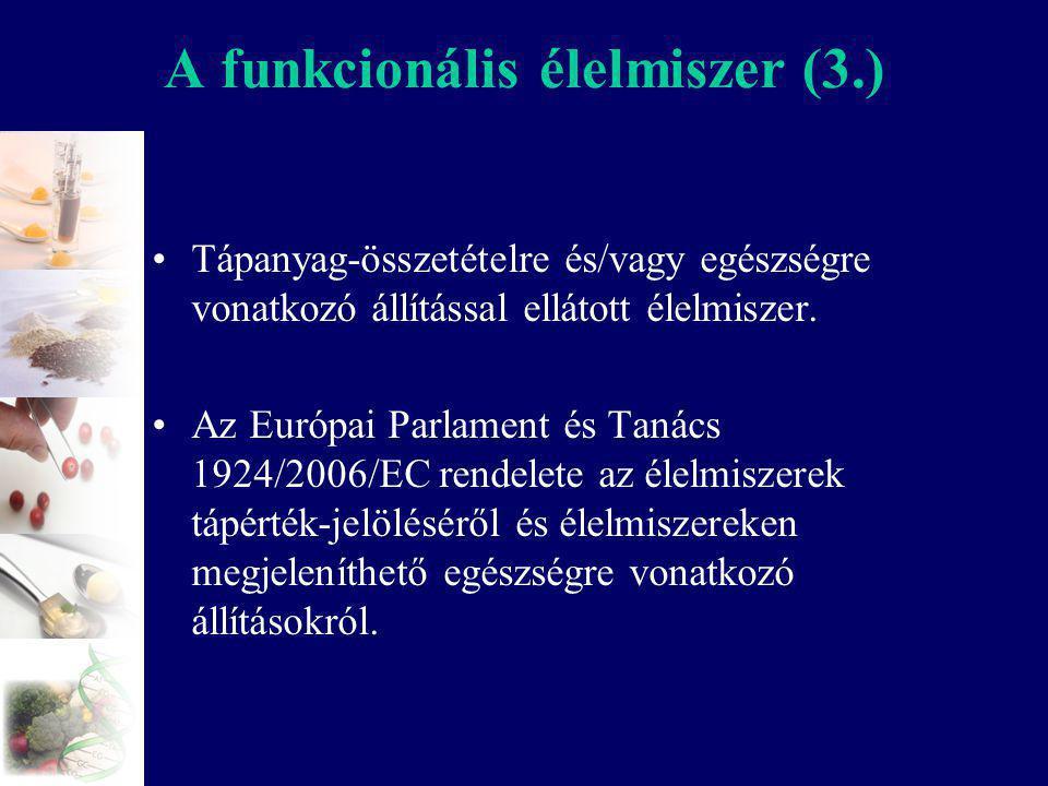 A funkcionális élelmiszer (3.) Tápanyag-összetételre és/vagy egészségre vonatkozó állítással ellátott élelmiszer. Az Európai Parlament és Tanács 1924/