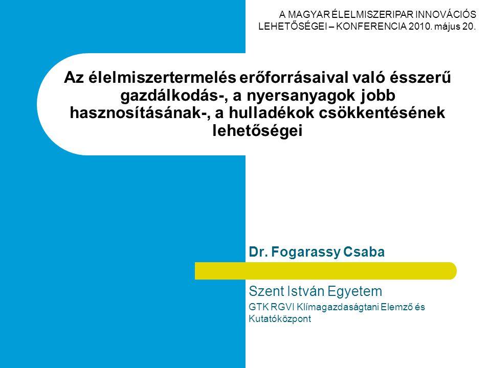 Dr. Fogarassy Csaba Szent István Egyetem GTK RGVI Klímagazdaságtani Elemző és Kutatóközpont Az élelmiszertermelés erőforrásaival való ésszerű gazdálko