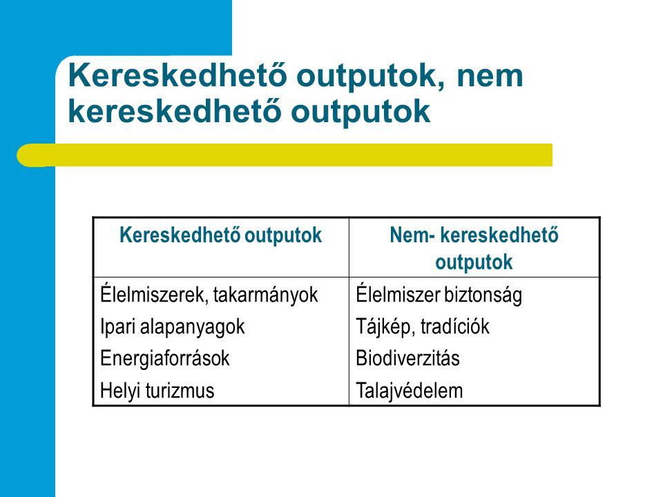 Kereskedhető outputok, nem kereskedhető outputok Kereskedhető outputokNem- kereskedhető outputok Élelmiszerek, takarmányok Ipari alapanyagok Energiaforrások Helyi turizmus Élelmiszer biztonság Tájkép, tradíciók Biodiverzitás Talajvédelem