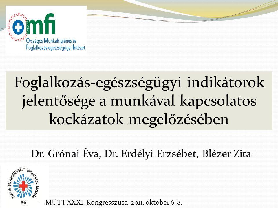 Dr. Grónai Éva, Dr. Erdélyi Erzsébet, Blézer Zita Foglalkozás-egészségügyi indikátorok jelentősége a munkával kapcsolatos kockázatok megelőzésében MÜT
