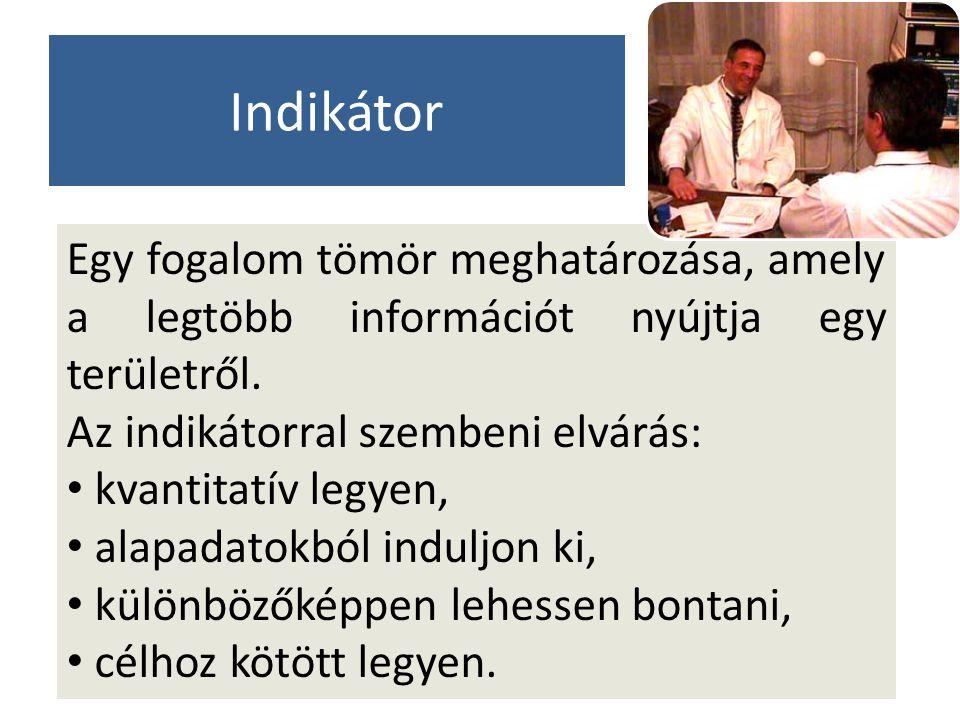 Indikátor Egy fogalom tömör meghatározása, amely a legtöbb információt nyújtja egy területről. Az indikátorral szembeni elvárás: kvantitatív legyen, a
