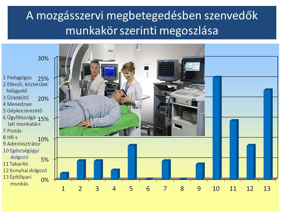 A mozgásszervi megbetegedésben szenvedők munkakör szerinti megoszlása 1 Pedagógus 2 Ellenőr, közterület felügyelő 3 Üzletkötő 4 Menedzser 5 Gépkocsive