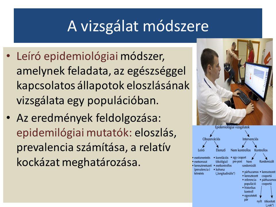 A vizsgálat módszere Leíró epidemiológiai módszer, amelynek feladata, az egészséggel kapcsolatos állapotok eloszlásának vizsgálata egy populációban. A