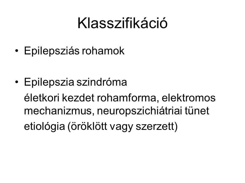 Klasszifikáció Epilepsziás rohamok Epilepszia szindróma életkori kezdet rohamforma, elektromos mechanizmus, neuropszichiátriai tünet etiológia (öröklö