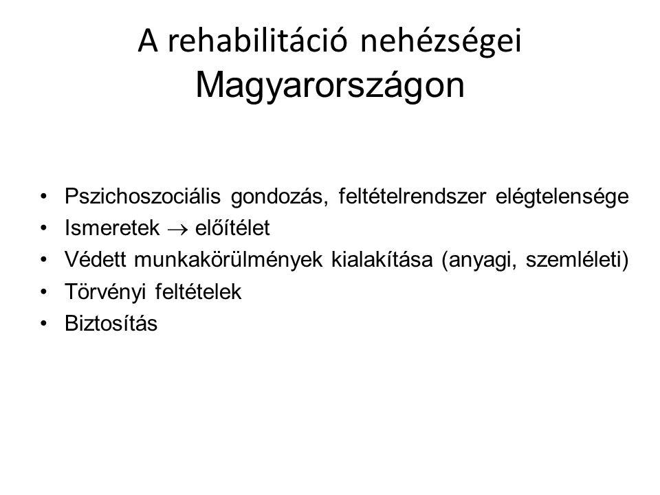 A rehabilitáció nehézségei Magyarországon Pszichoszociális gondozás, feltételrendszer elégtelensége Ismeretek  előítélet Védett munkakörülmények kial