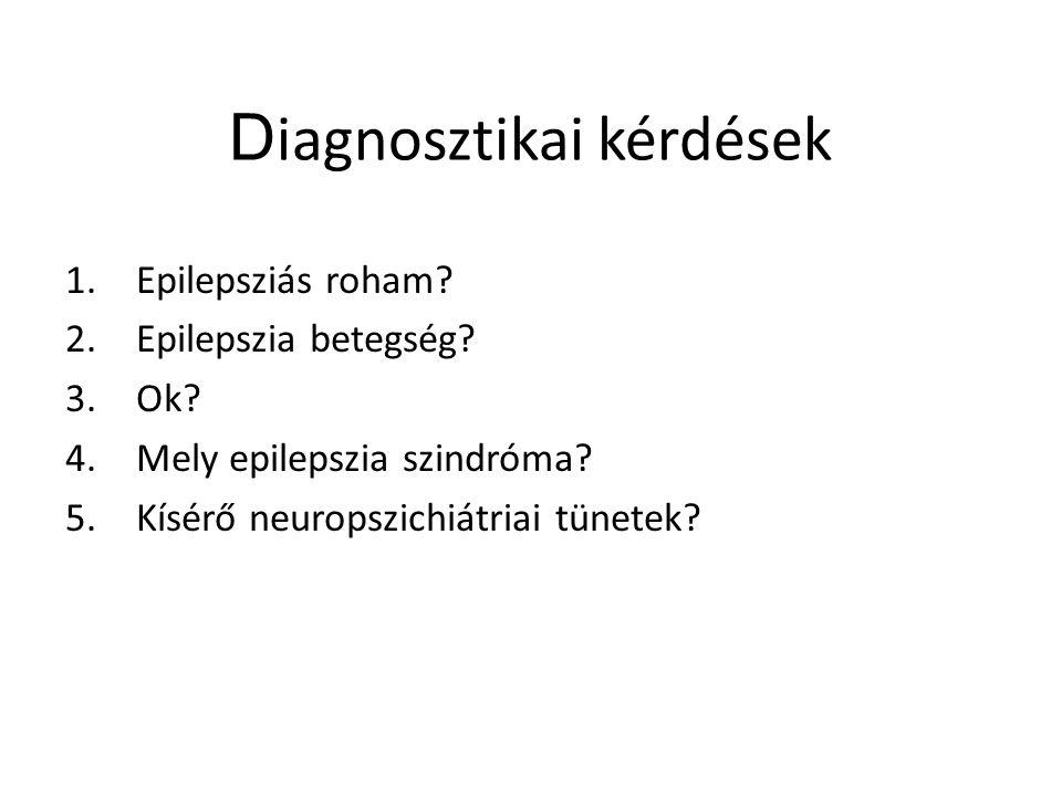 D iagnosztikai kérdések 1.Epilepsziás roham? 2.Epilepszia betegség? 3.Ok? 4.Mely epilepszia szindróma? 5.Kísérő neuropszichiátriai tünetek?