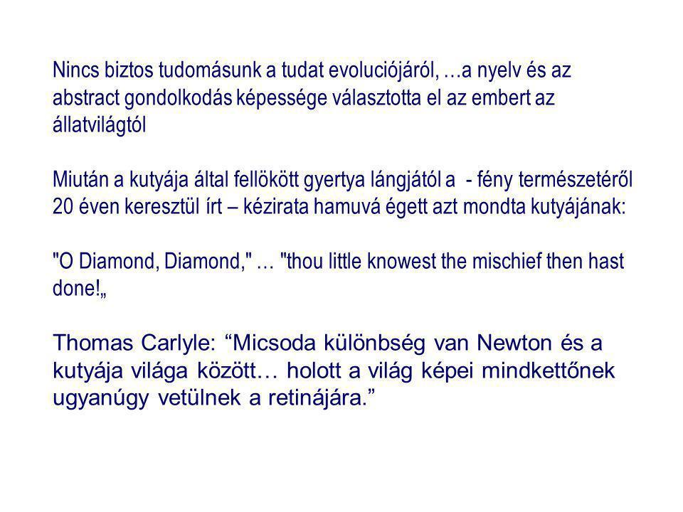 """Nincs biztos tudomásunk a tudat evoluciójáról, …a nyelv és az abstract gondolkodás képessége választotta el az embert az állatvilágtól Miután a kutyája által fellökött gyertya lángjától a - fény természetéről 20 éven keresztül írt – kézirata hamuvá égett azt mondta kutyájának: O Diamond, Diamond, … thou little knowest the mischief then hast done!"""" Thomas Carlyle: Micsoda különbség van Newton és a kutyája világa között… holott a világ képei mindkettőnek ugyanúgy vetülnek a retinájára."""