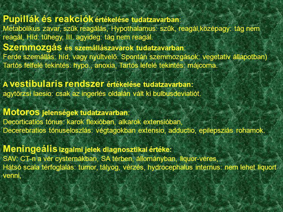 Pupillák és reakciók értékelése tudatzavarban: Metabolikus zavar, szűk reagálás, Hypothalamus: szűk, reagál,középagy: tág nem reagál, Híd: tűhegy, III