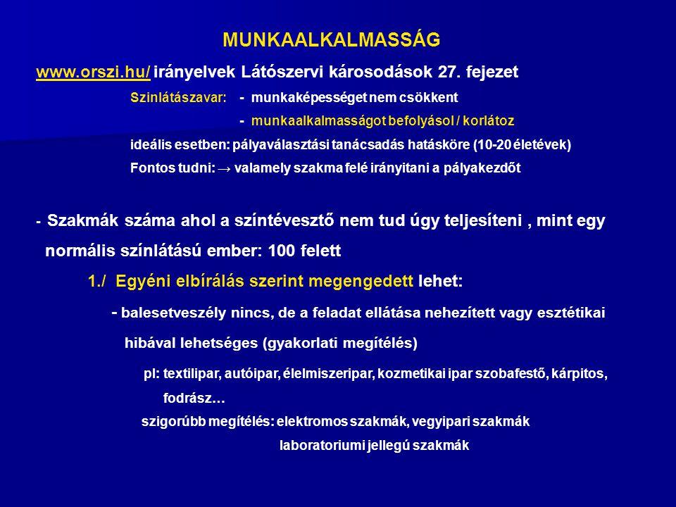 MUNKAALKALMASSÁG www.orszi.hu/www.orszi.hu/ irányelvek Látószervi károsodások 27.
