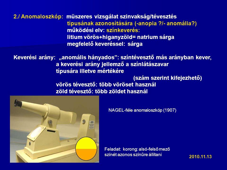 """2./ Anomaloszkóp: müszeres vizsgálat szinvakság/tévesztés típusának azonosítására (-anopia ?/- anomália?) működési elv: színkeverés: litium vörös+higanyzöld= natrium sárga megfelelő keveréssel: sárga Keverési arány: """"anomális hányados : színtévesztő más arányban kever, a keverési arány jellemző a színlátászavar típusára illetve mértékére (szám szerint kifejezhető) vörös tévesztő: több vöröset használ zöld tévesztő: több zöldet használ NAGEL-féle anomaloszkóp (1907) Feladat: korong: alsó-felső mező színét azonos színűre állítani 2010.11.13"""
