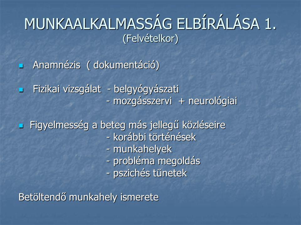 MUNKAALKALMASSÁG ELBÍRÁLÁSA 1. (Felvételkor) Anamnézis ( dokumentáció) Anamnézis ( dokumentáció) Fizikai vizsgálat - belgyógyászati Fizikai vizsgálat