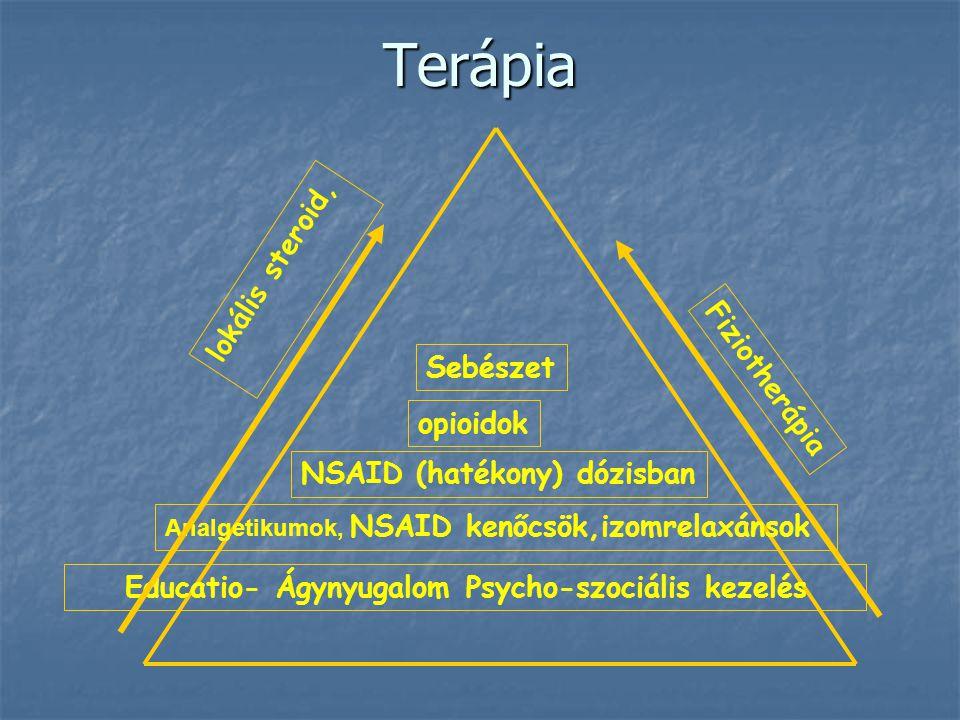 Educatio- Ágynyugalom Psycho-szociális kezelés Analgetikumok, NSAID kenőcsök,izomrelaxánsok NSAID (hatékony) dózisban opioidok Sebészet lokális steroi