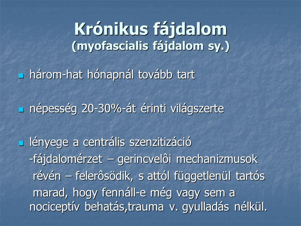 Krónikus fájdalom (myofascialis fájdalom sy.) három-hat hónapnál tovább tart három-hat hónapnál tovább tart népesség 20-30%-át érinti világszerte népe