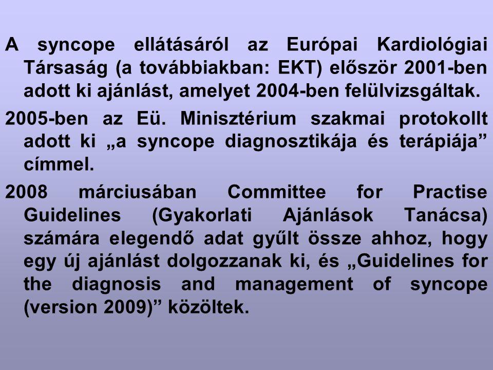 A syncope ellátásáról az Európai Kardiológiai Társaság (a továbbiakban: EKT) először 2001-ben adott ki ajánlást, amelyet 2004-ben felülvizsgáltak. 200