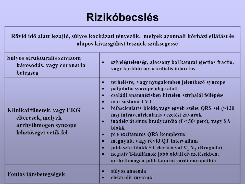 Rizikóbecslés Rövid idő alatt lezajló, súlyos kockázati tényezők, melyek azonnali kórházi ellátást és alapos kivizsgálást tesznek szükségessé Súlyos s