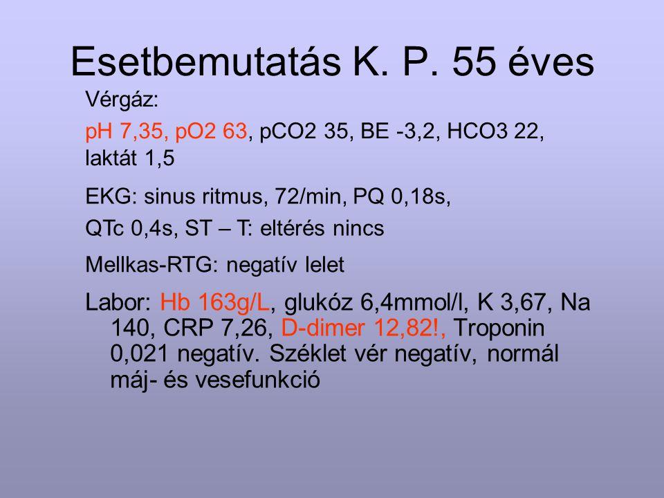 Esetbemutatás K. P. 55 éves Labor: Hb 163g/L, glukóz 6,4mmol/l, K 3,67, Na 140, CRP 7,26, D-dimer 12,82!, Troponin 0,021 negatív. Széklet vér negatív,