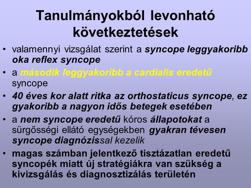 Tanulmányokból levonható következtetések valamennyi vizsgálat szerint a syncope leggyakoribb oka reflex syncope a második leggyakoribb a cardialis ere