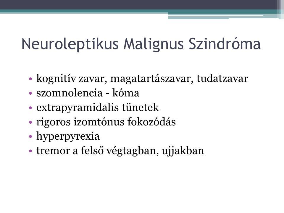 Neuroleptikus Malignus Szindróma kognitív zavar, magatartászavar, tudatzavar szomnolencia - kóma extrapyramidalis tünetek rigoros izomtónus fokozódás