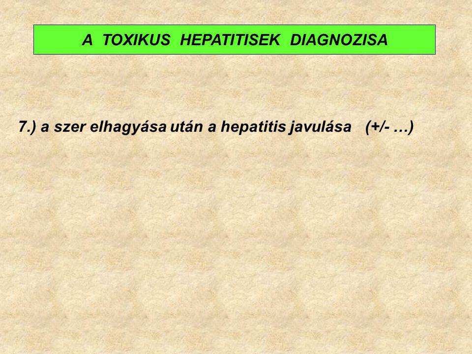 7.) a szer elhagyása után a hepatitis javulása (+/- …) A TOXIKUS HEPATITISEK DIAGNOZISA