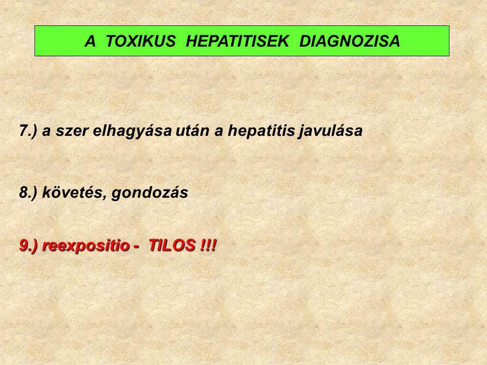 7.) a szer elhagyása után a hepatitis javulása 8.) követés, gondozás 9.) reexpositio - TILOS !!! A TOXIKUS HEPATITISEK DIAGNOZISA