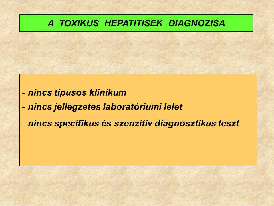 - nincs típusos klinikum - nincs jellegzetes laboratóriumi lelet - nincs specifikus és szenzitív diagnosztikus teszt A TOXIKUS HEPATITISEK DIAGNOZISA