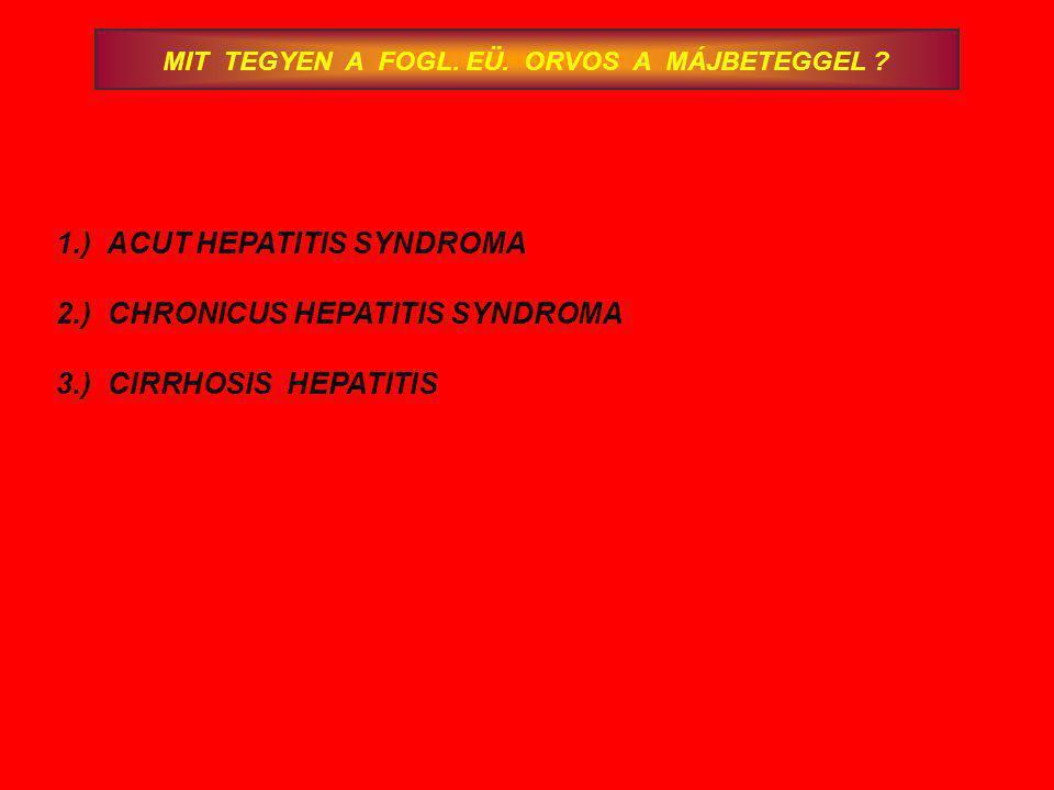 MIT TEGYEN A FOGL. EÜ. ORVOS A MÁJBETEGGEL ? 1.) ACUT HEPATITIS SYNDROMA 2.) CHRONICUS HEPATITIS SYNDROMA 3.) CIRRHOSIS HEPATITIS