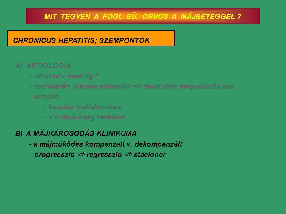 MIT TEGYEN A FOGL. EÜ. ORVOS A MÁJBETEGGEL ? CHRONICUS HEPATITIS; SZEMPONTOK A)AETIOLÓGIA - alkohol – meddig ? - munkaköri toxicus expositio => munkak