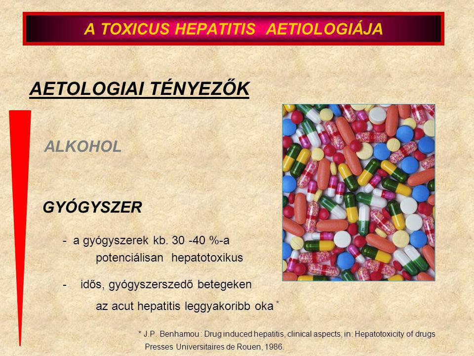 - a gyógyszerek kb. 30 -40 %-a potenciálisan hepatotoxikus -idős, gyógyszerszedő betegeken az acut hepatitis leggyakoribb oka * * J.P. Benhamou : Drug
