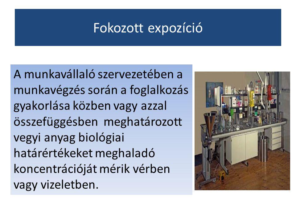 Fokozott expozíció A munkavállaló szervezetében a munkavégzés során a foglalkozás gyakorlása közben vagy azzal összefüggésben meghatározott vegyi anya