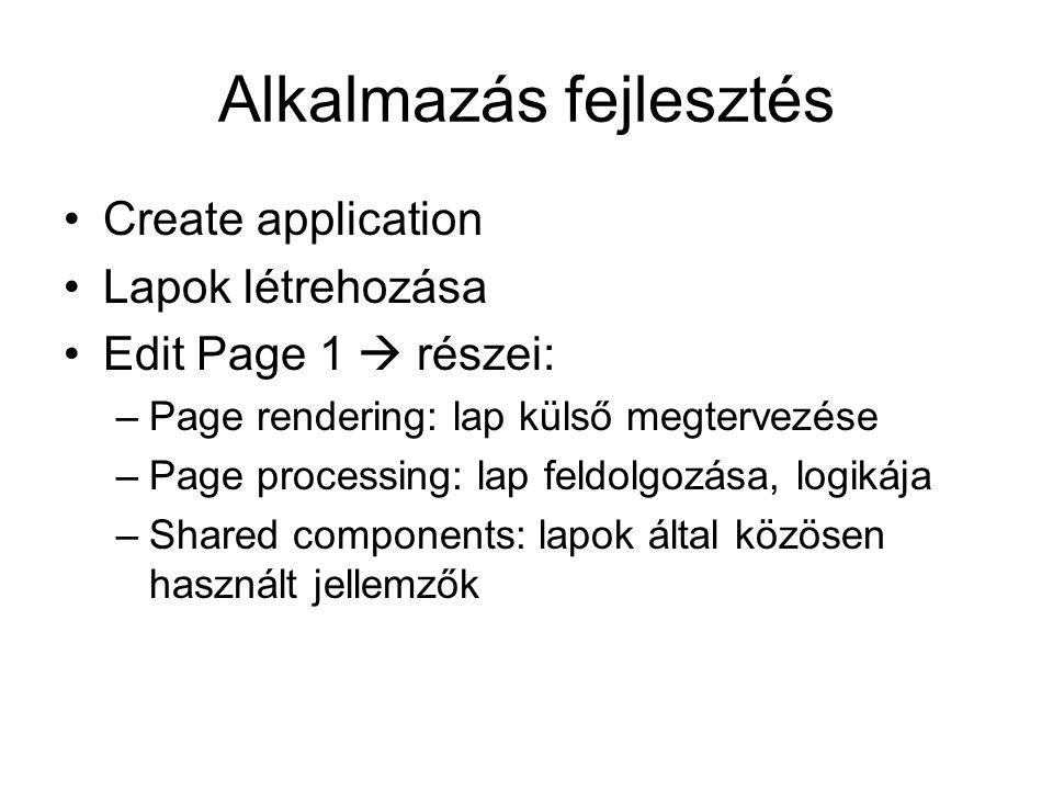 Alkalmazás fejlesztés Create application Lapok létrehozása Edit Page 1  részei: –Page rendering: lap külső megtervezése –Page processing: lap feldolg
