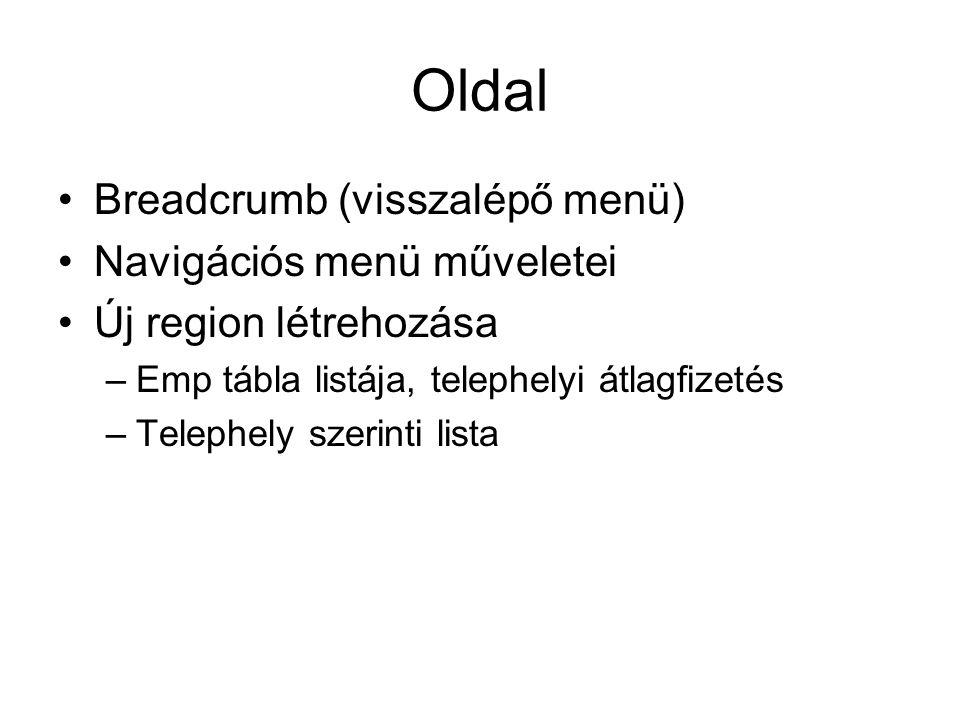 Oldal Breadcrumb (visszalépő menü) Navigációs menü műveletei Új region létrehozása –Emp tábla listája, telephelyi átlagfizetés –Telephely szerinti lis