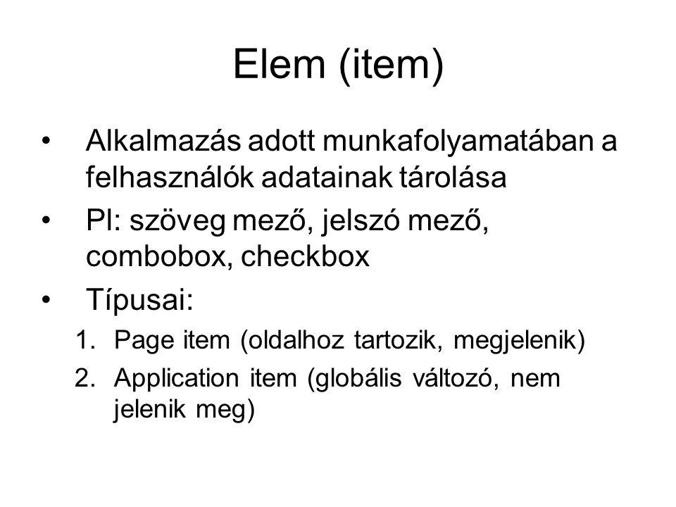 Elem (item) Alkalmazás adott munkafolyamatában a felhasználók adatainak tárolása Pl: szöveg mező, jelszó mező, combobox, checkbox Típusai: 1.Page item