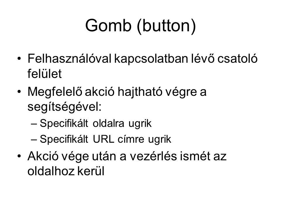 Gomb (button) Felhasználóval kapcsolatban lévő csatoló felület Megfelelő akció hajtható végre a segítségével: –Specifikált oldalra ugrik –Specifikált