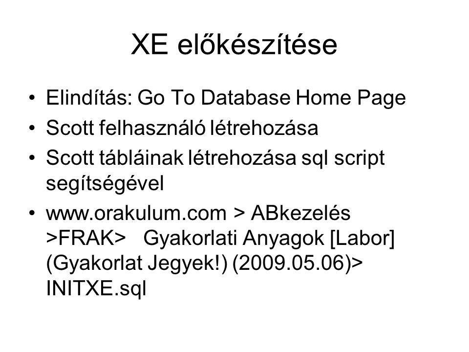 XE előkészítése Elindítás: Go To Database Home Page Scott felhasználó létrehozása Scott tábláinak létrehozása sql script segítségével www.orakulum.com