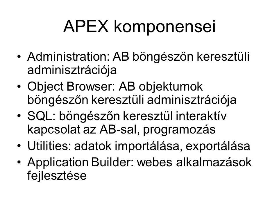 APEX komponensei Administration: AB böngészőn keresztüli adminisztrációja Object Browser: AB objektumok böngészőn keresztüli adminisztrációja SQL: bön