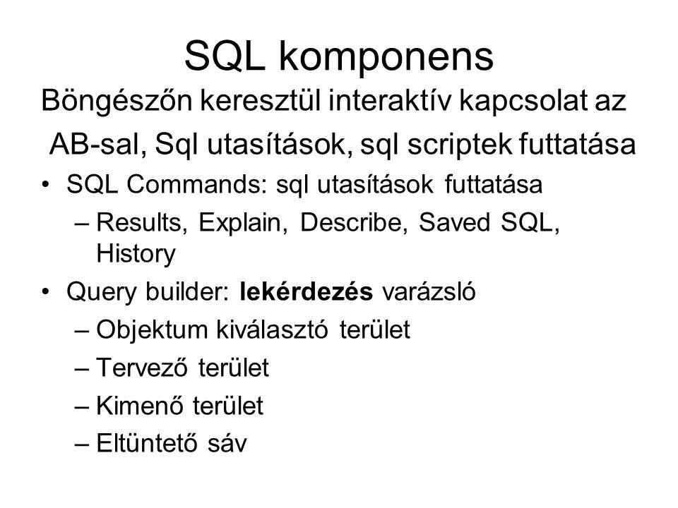 SQL komponens Böngészőn keresztül interaktív kapcsolat az AB-sal, Sql utasítások, sql scriptek futtatása SQL Commands: sql utasítások futtatása –Resul