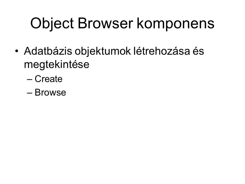 Object Browser komponens Adatbázis objektumok létrehozása és megtekintése –Create –Browse