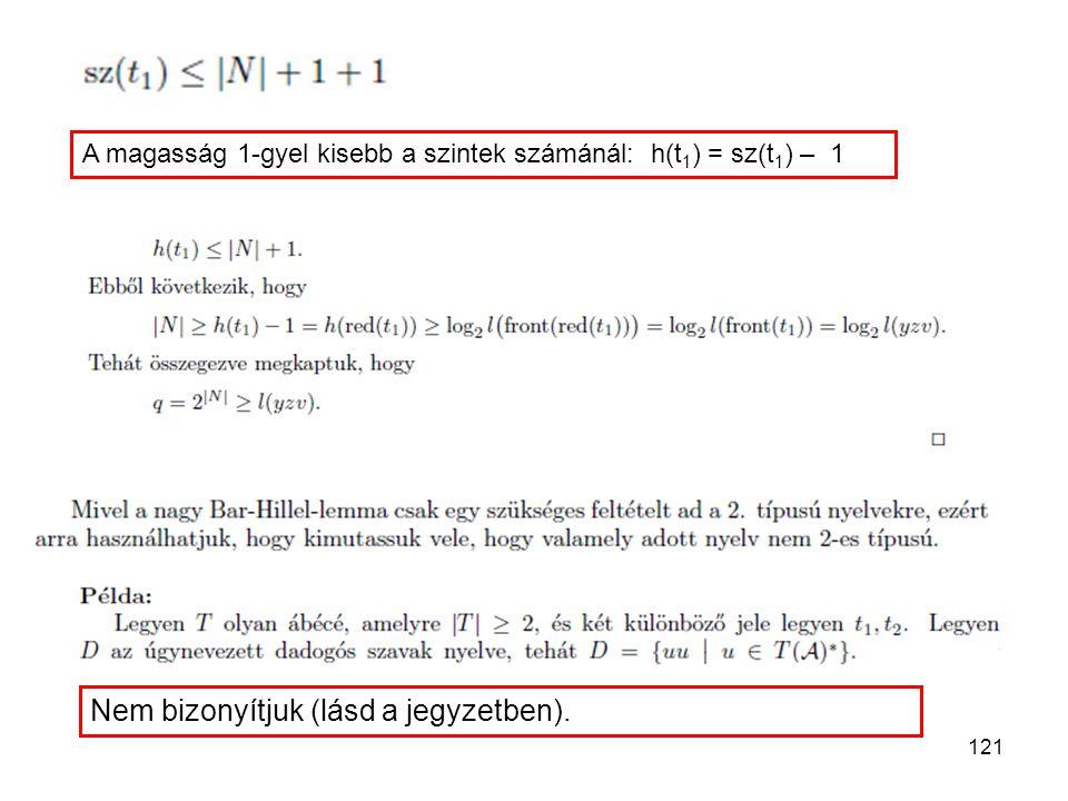 121 A magasság 1-gyel kisebb a szintek számánál: h(t 1 ) = sz(t 1 ) – 1 Nem bizonyítjuk (lásd a jegyzetben).
