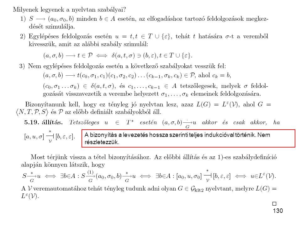 130 A bizonyítás a levezetés hossza szerinti teljes indukcióval történik. Nem részletezzük.