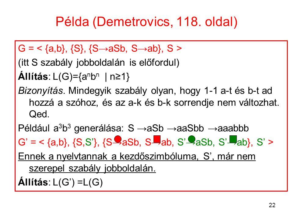 22 Példa (Demetrovics, 118. oldal) G = (itt S szabály jobboldalán is előfordul) Állítás: L(G)={a n b n | n≥1} Bizonyítás. Mindegyik szabály olyan, hog