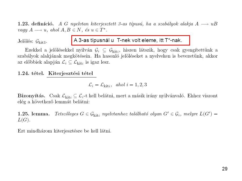 29 A 3-as típusnál u T-nek volt eleme, itt T*-nak.