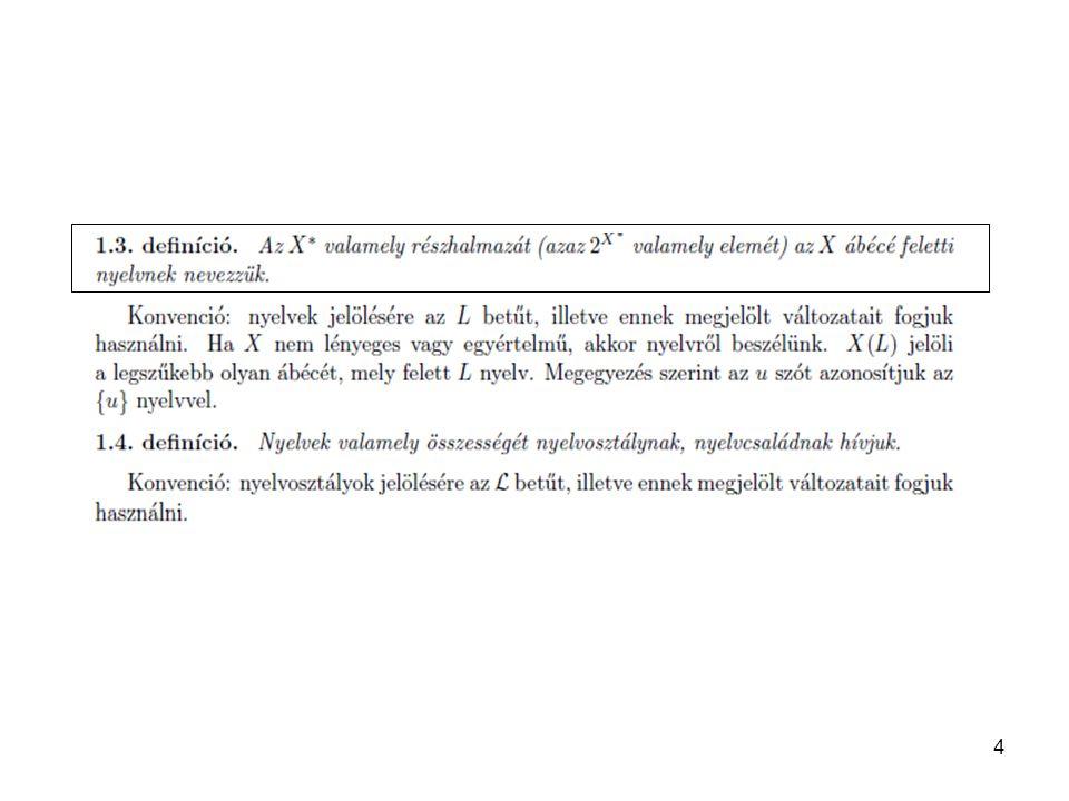 45 Emlékeztető (MÁR LÁTTUK): ε -mentesítés – az ε-jobboldalú szabályok kiküszöbölése Láncmentesítés: A→N (A,BєN) szabályok kiküszöbölése