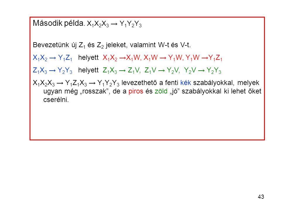 43 Második példa. X 1 X 2 X 3 → Y 1 Y 2 Y 3 Bevezetünk új Z 1 és Z 2 jeleket, valamint W-t és V-t. X 1 X 2 → Y 1 Z 1 helyett X 1 X 2 →X 1 W, X 1 W → Y