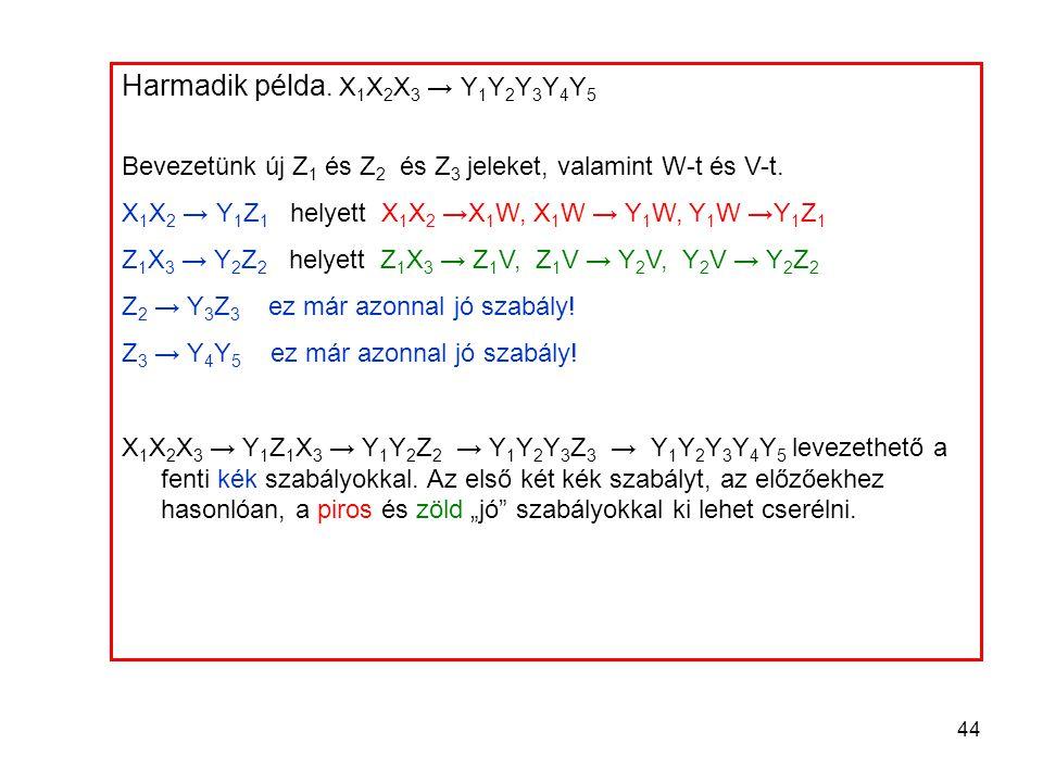 44 Harmadik példa. X 1 X 2 X 3 → Y 1 Y 2 Y 3 Y 4 Y 5 Bevezetünk új Z 1 és Z 2 és Z 3 jeleket, valamint W-t és V-t. X 1 X 2 → Y 1 Z 1 helyett X 1 X 2 →