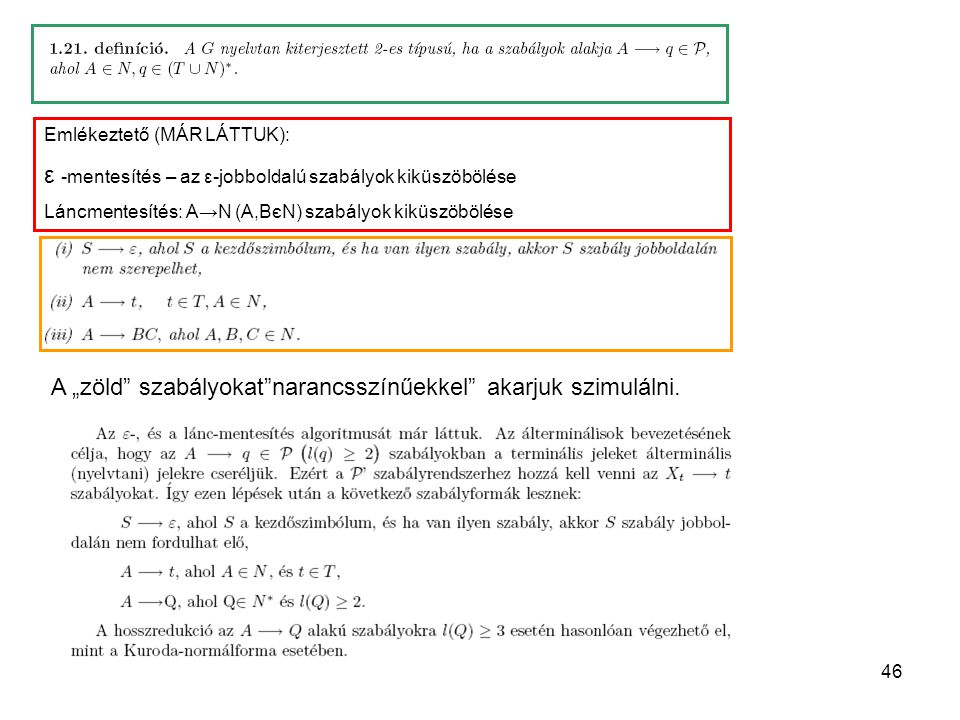 """46 Emlékeztető (MÁR LÁTTUK): ε -mentesítés – az ε-jobboldalú szabályok kiküszöbölése Láncmentesítés: A→N (A,BєN) szabályok kiküszöbölése A """"zöld"""" szab"""